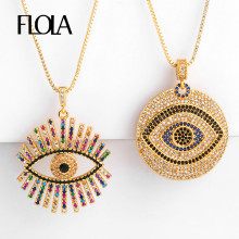 FLOLA Gold Filled Greek Eye Necklace For Woman Zirconia Evil Pendant CZ Rainbow Jewelry collar de ojo turco nkep47