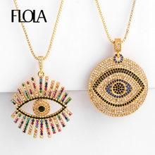 FLOLA oro griego ojo collar para mujer Zirconia mal de ojo colgante CZ joyería del arco iris collar de ojo turco nkep47