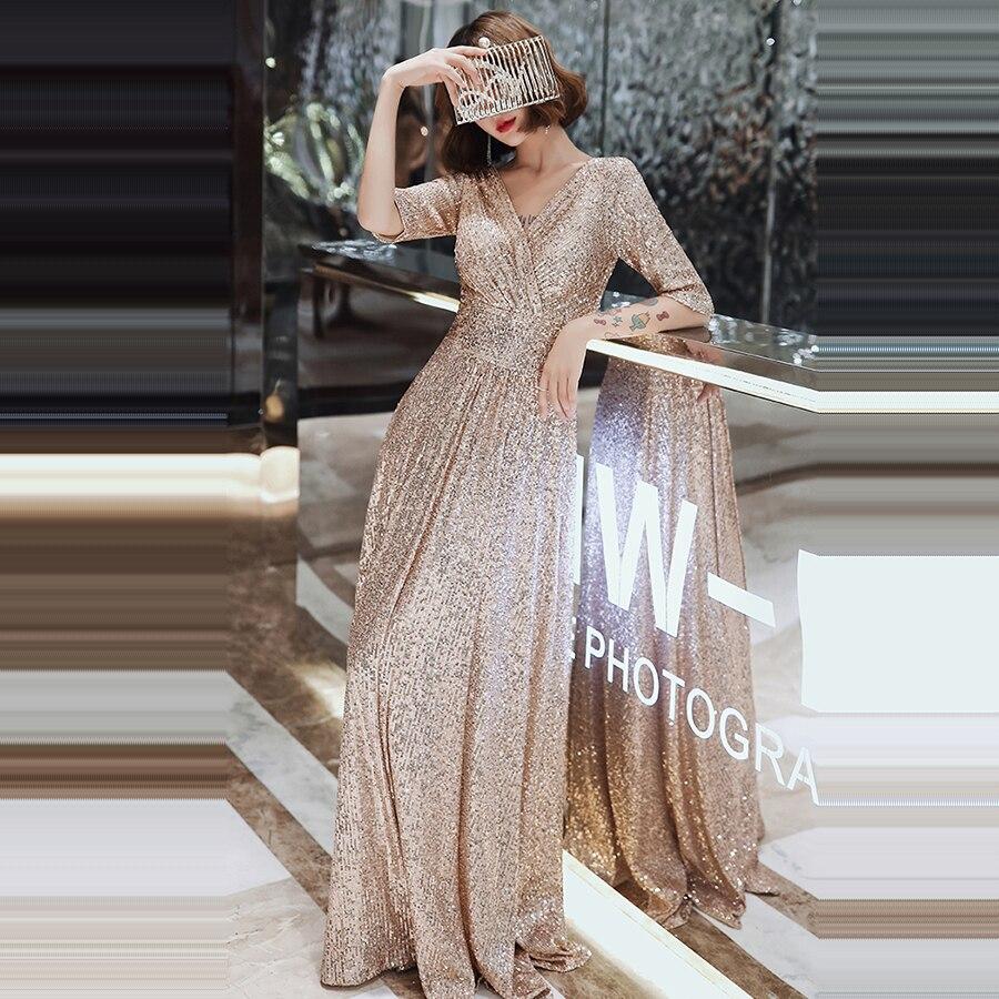 Robe De soirée Double col en v demi-manches femmes robes De soirée K004 a-ligne élégante Robe De soirée 2019 Bling Sequin robes formelles