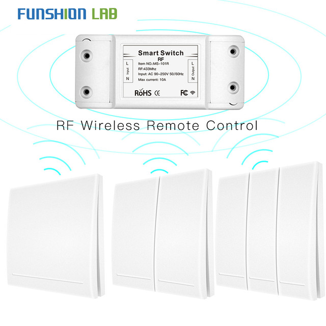 433Mhz Wireless Smart Switch RF Remote Control Receiver Push Button Controller Wall Panel Transmitter,2 way/3 way Multi Control