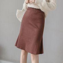 Вязаные юбки для женщин осенне зимняя Корейская юбка с высокой