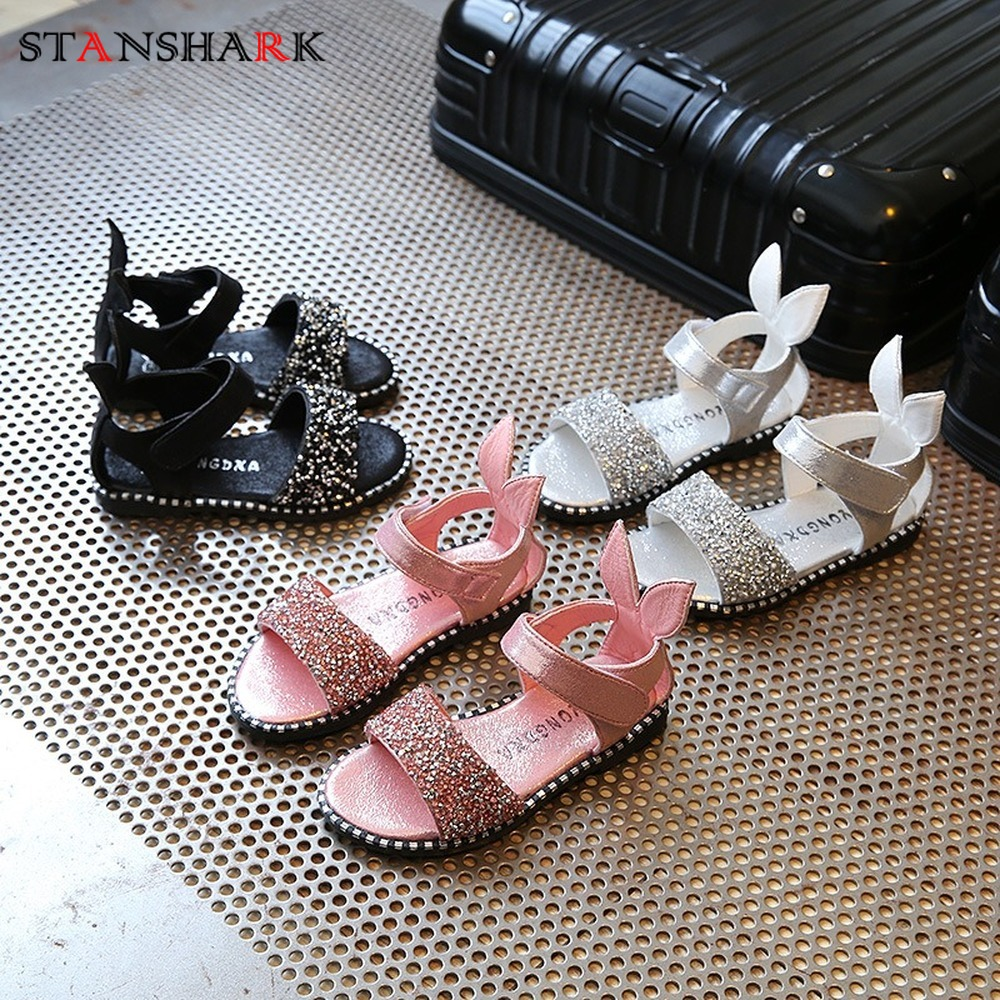 Fashion Kid Baby Girl Sandals Cute Pink Bling Shiny Rhinestone Toddler Children Girls Shoes With Rabbit Ear Kids Flat Sandals