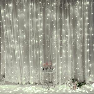 3 м 2 м светодиодный занавес USB гирлянда с пультом дистанционного управления гирлянда на окно Новогоднее Рождественское украшение для дома н...