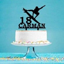 Персонализированный Топпер для торта на день рождения, серфинг, мужские силуэты, топпер для торта для серферов, украшение для торта на день ...