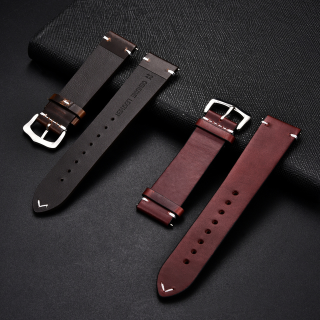 Retro Cowhide Leather Watchband (Multiple Colours) 4