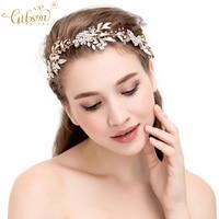 Wedding Girls Leaf Headbands Crystal Bridal Hair Vine Flower Leaf Opal Regal Woman Headpiece Hair Accessories Jewelry