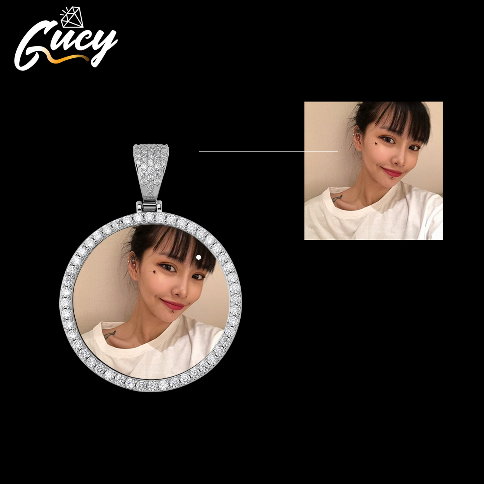 GUCY Fashion Custom Made Photo Roundness Solid Back Pendant & Necklace With Tennis Chain Cubic Zircon Men's Hip hop Jewelry Customized Necklaces  - AliExpress