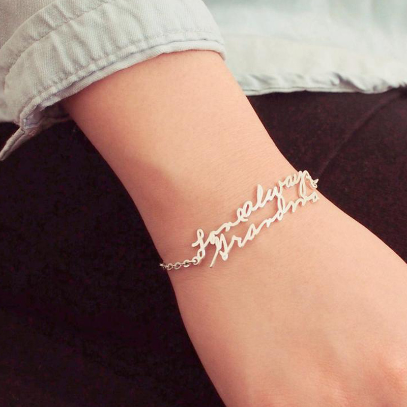 Custom Handwriting Bracelet Stainless Steel Personalized Signature Bracelets For Women Girl BFF Jewelry Pulseras Mujer Moda 2019