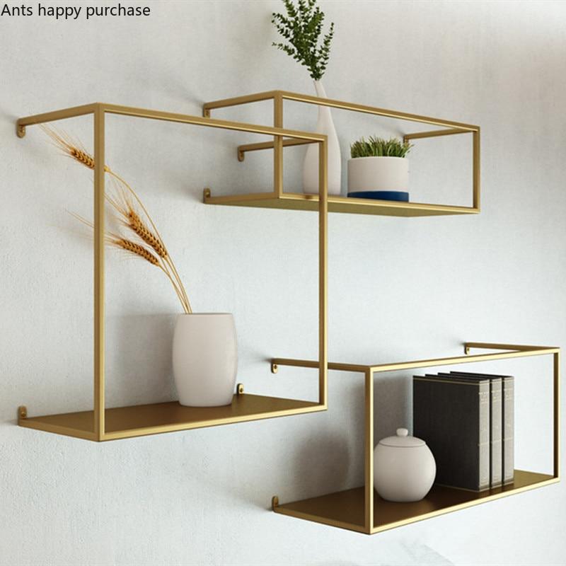 Gold Black Small Wall Shelves Storage Decor Display Shelving Wrought Iron Shelf
