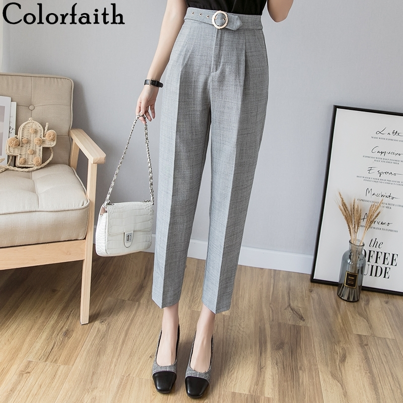 Colorfaith 2019 Autumn Winter Women Pants High Waist Casual Sashes Pockets Minimalist Straight Office Lady Suit Trousers P7128