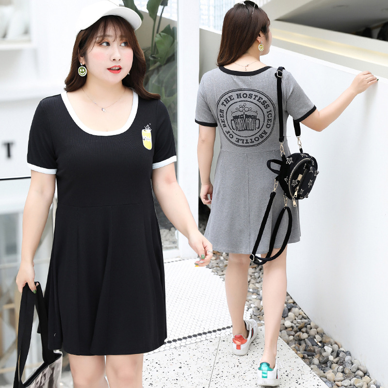 [Xuan Chen] Summer New Style Fat Mm Plus-sized WOMEN'S Dress Playful College Style Dress A Generation Of Fat 1724