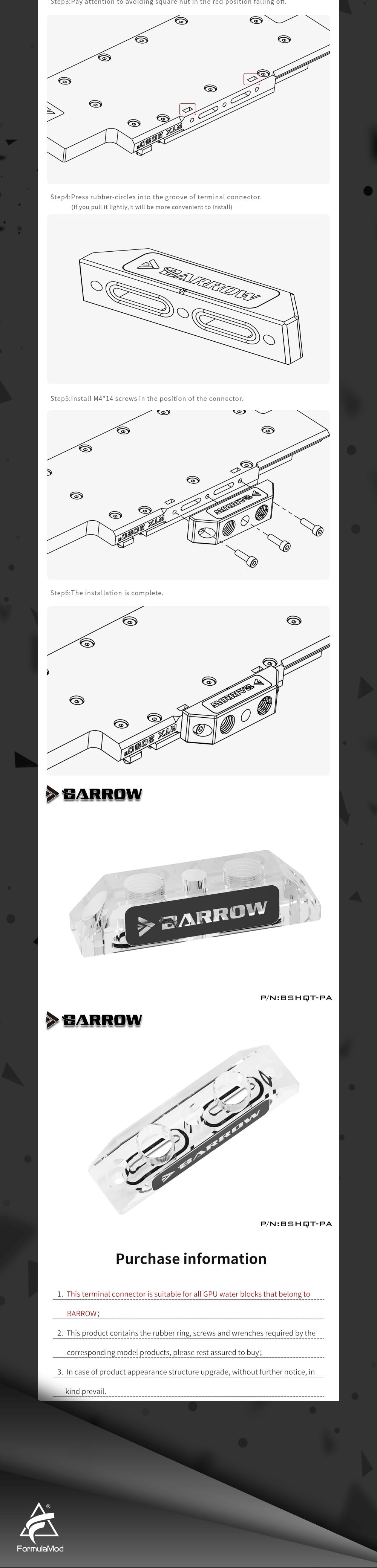 Barrow BSHQT-PA, Multifunctional Acrylic Change Direction Top-Side GPU Block Bridge, For Barrow's GPU Water Block Refit