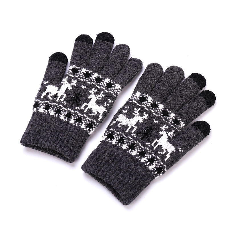 Sparsil Unisex Winter Knitted Gloves Christmas Deer Touch Screen Gloves Male Female Double Thick Warm Mittens Handschoenen