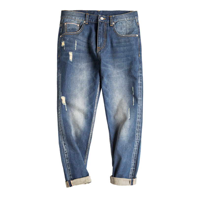 Maden Men's Washed Regular Fit Destroyed Frayed Ripped Jeans Ankle Length Jeans Vintage Teenagers Streetwear Jeans Trousers