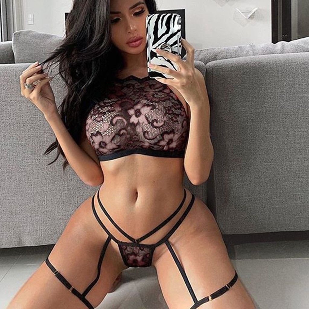 2PC Plus Size Porno Baby Doll Women Sexy Lingerie Lace Floral Erotic Babydoll Sexy Underwear Costume Bra Thong With Garter Set