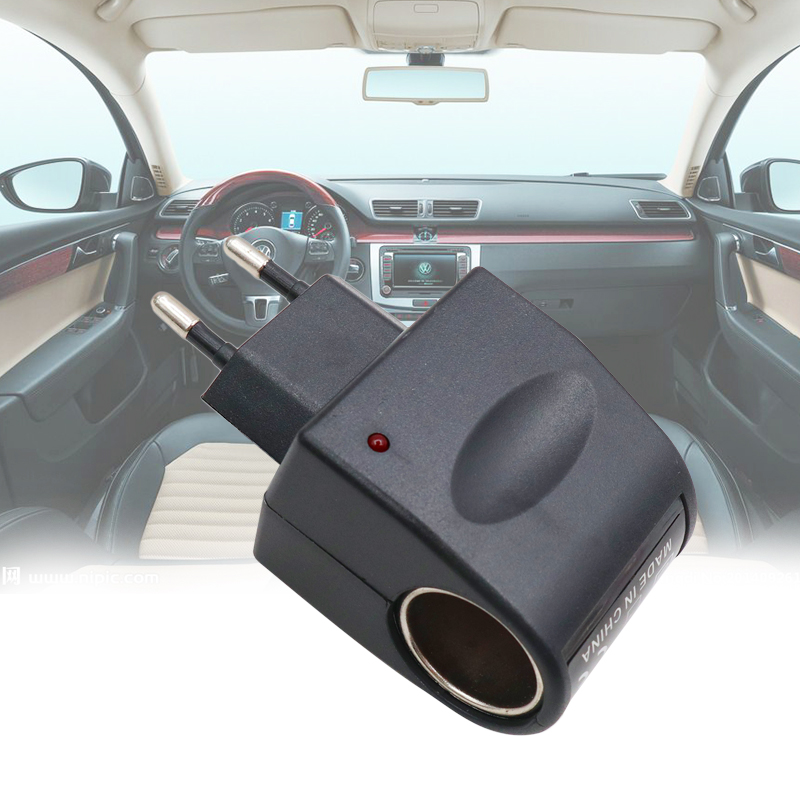 Useful <font><b>Car</b></font> Cigarette Lighter Power AC <font><b>220V</b></font> <font><b>To</b></font> DC <font><b>12V</b></font> Black <font><b>Adapter</b></font> Converter Mini Automobile Accessories image