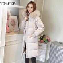 YTNMYOP женские зимние пальто с капюшоном XS-2XL парки НОВАЯ тонкая модная стеганая куртка Толстая теплая парка женская большой меховой воротник