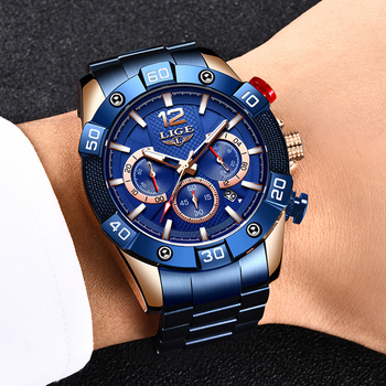 LIGE 2021 New Fashion Blue Mens Watches Top Brand Luxury Clock Sports Chronograph Waterproof Quartz Watch Men Relogio Masculino 5
