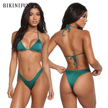 New Sexy Halter Bikini Women Swimsuit Solid Color Bathing Suit S-L Low Waist Backless Swimwear Thong Bikini Micro Bikini Set