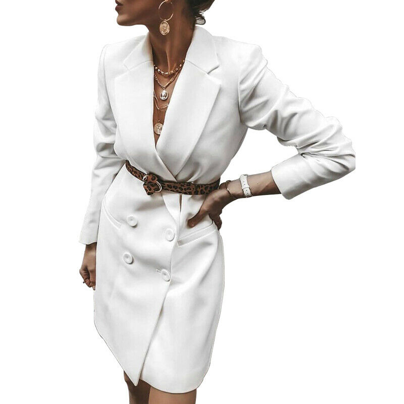 Women Ladies V Neck Long Sleeve Double Breasted Blazer Causal Office Mini Dress