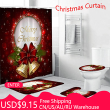 4pcs/set Christmas Bell Waterproof Shower Curtain Pedestal Rug Toilet Cover Mat Carpet Set Bathroom Accessory