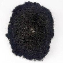 Perruque de remplacement pour homme noir, cheveux humains Remy ondulés, qualité peau fine, 10mm