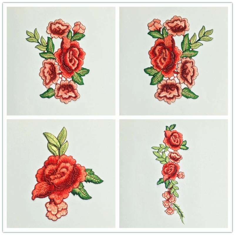 Rose Flower Embroidery Patches Sticker Clothes Parches Para La Ropa Applique Embroidery Flower Patches Diy Clothing Accessories