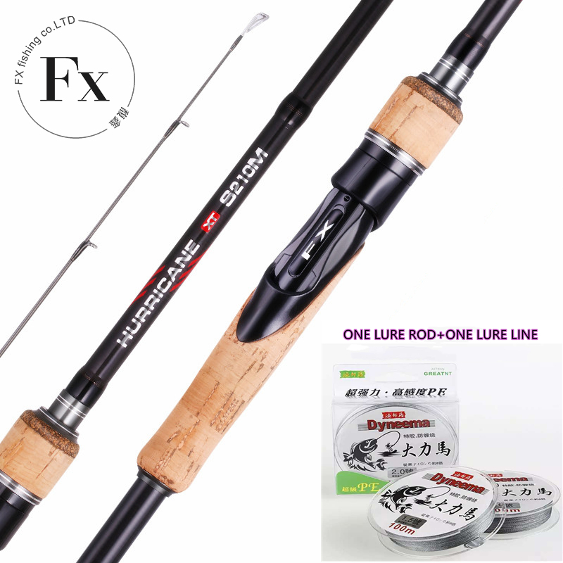 FX Spinning Casting Lure Rod Fishing Rod Perigee 3 Section 100M Super Strong Fishing Line PE 4 Braided Fishing Line Carbon Rod