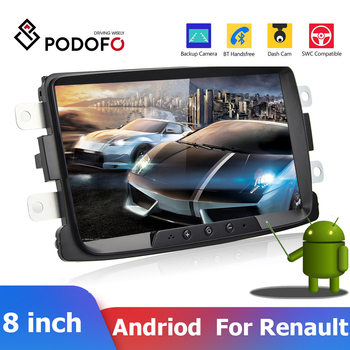 Podofo 2 Din Car Radio 8'' Android Car Multimedia Player GPS Wifi Mirrorlink For Renault Sandero Duste Logan Dokker Autoradio image