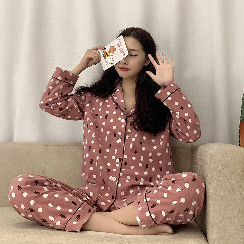Winter Women Pajamas Cartoon Print Cute Pyjamas Set Sleepwear Long Sleeve Turndown-collar Spring Plus Size Pajama Home Wear