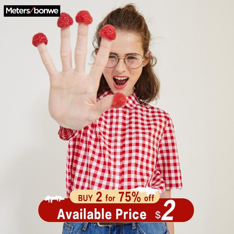 Metersbonwe 2019 New Summer Short-Sleeved Shirt Women's Blouse Basic Plaid Shirt Joker Line Led Hong Kong Style Summer Blouse