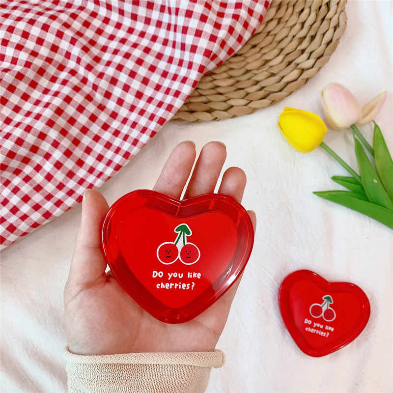 1Pcs Heart Shaped Cherry Mini Make-Up Spiegel Compact Pocket Spiegel Draagbare Dubbelzijdige Vouwen Cosmetische Spiegel Vrouwen Geschenken
