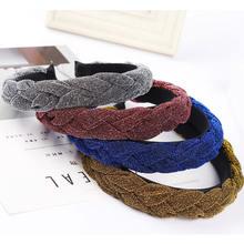 Модная бархатная плетеная повязка для волос cn однотонные широкие