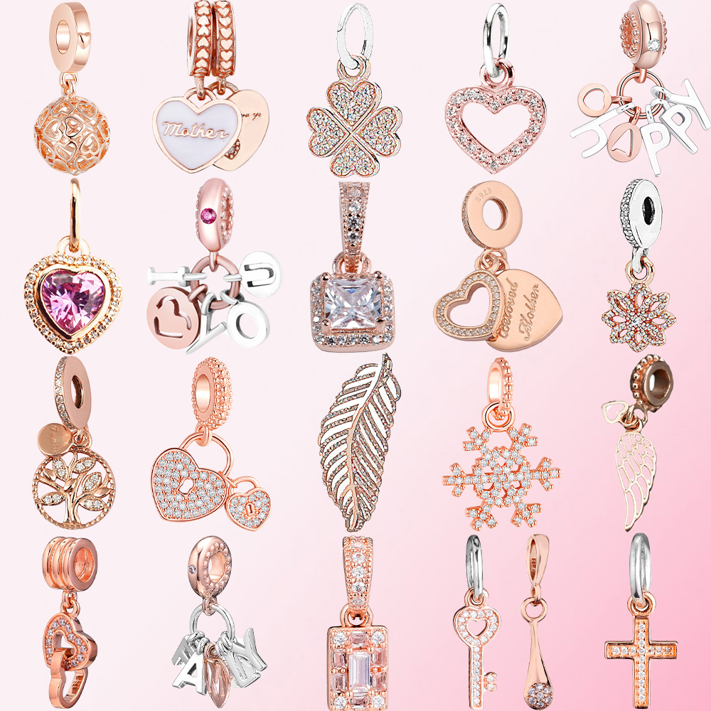 2019 100% 925 Sterling Silver Classic Feather Tree of Life Cross Heart-shaped Key Snowflake Clover DIY Rose Gold Pendant