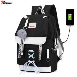 School-Bags Canvas Backpack Women Teenagers Black Girls High-College Large-Capacity Usb