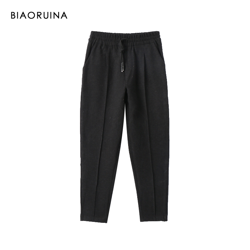BIAORUINA Women's Black Keep Warm Winter Thick Pant Female Casual  Elastic High Waist Loose Pant Trousers New Arrival