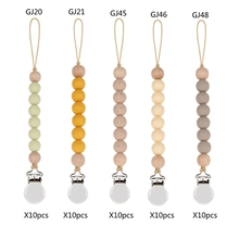 50Pcs Pacifier Clips Chain Silicone Beads BPA Free DIY Dummy Clip Holder Soother Chains Baby Teething Toys Chew Gifts