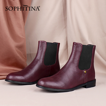 SOPHITINA Women Shoes Spring Autumn Premium Leather Ladies Ankle Boots Round Toe Low Heel Comfortable Women Chelsea Boots C849 sophitina fashion round toe ladies boots casual metal decoration med heel shoes winter basic solid square heel women boots so203