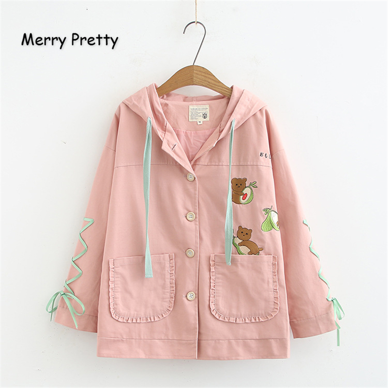 Merry Pretty Women Cartoon Bear Embroidery   Basic     Jacket   2019 Winter Long Sleeve Lace Up Hooded   Jacket   Single Breasted Outerwear