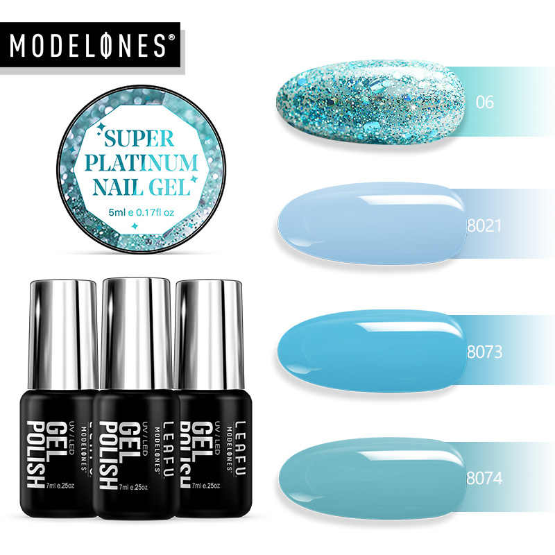 Modelones 4 pz/lotto Blu di Colore di Scintillio del Gel Del Chiodo Del Led Smalto Impregna fuori dallo Smalto Sparkly Glitter Gel Led Smalto Semi Permanente di UV nail Polish