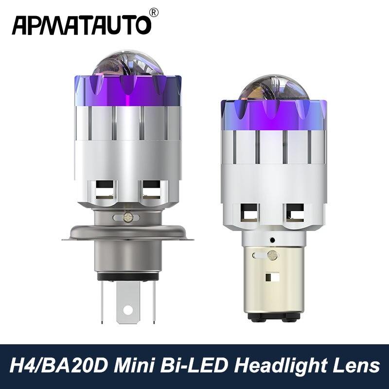 H4 H6 BA20D Led Motorcycle Headlight Bulbs Mini Bi-LED Headlight Lens Moto 4800LM Hi Lo Lamp Scooter ATV Accessories Fog Lights