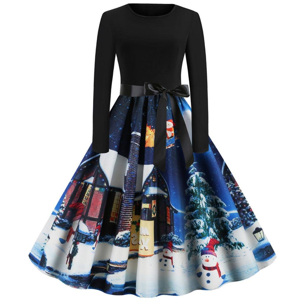 Custom Plus Size Tunic Autumn Women Dresses Casual Cartoon Print Christmas Dress Casual Loose Long Sleeve Party Dress Vestidos