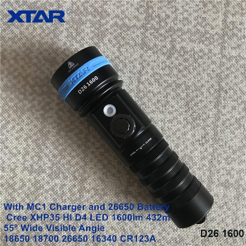 XTAR D26 1600 lumen professional diving torch IPX8 100m underwater