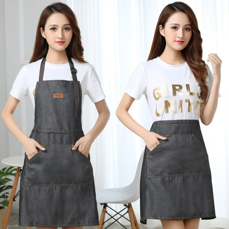 Jean Apron Advertisement Nail Salons Rice Restaurant Catering Apron Printed Words Work Clothes Women's Apron Hair Dressing|Oversleeves| |  - title=