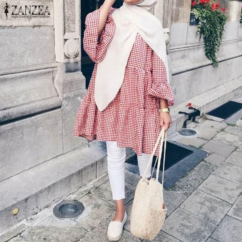 Casual Islamic Clothing Loose Tunic Ladies Kaftan Blusas Muslim Plaid Tops 2021 Spring ZANZEA Elegant Women Blouse Femme Chemise