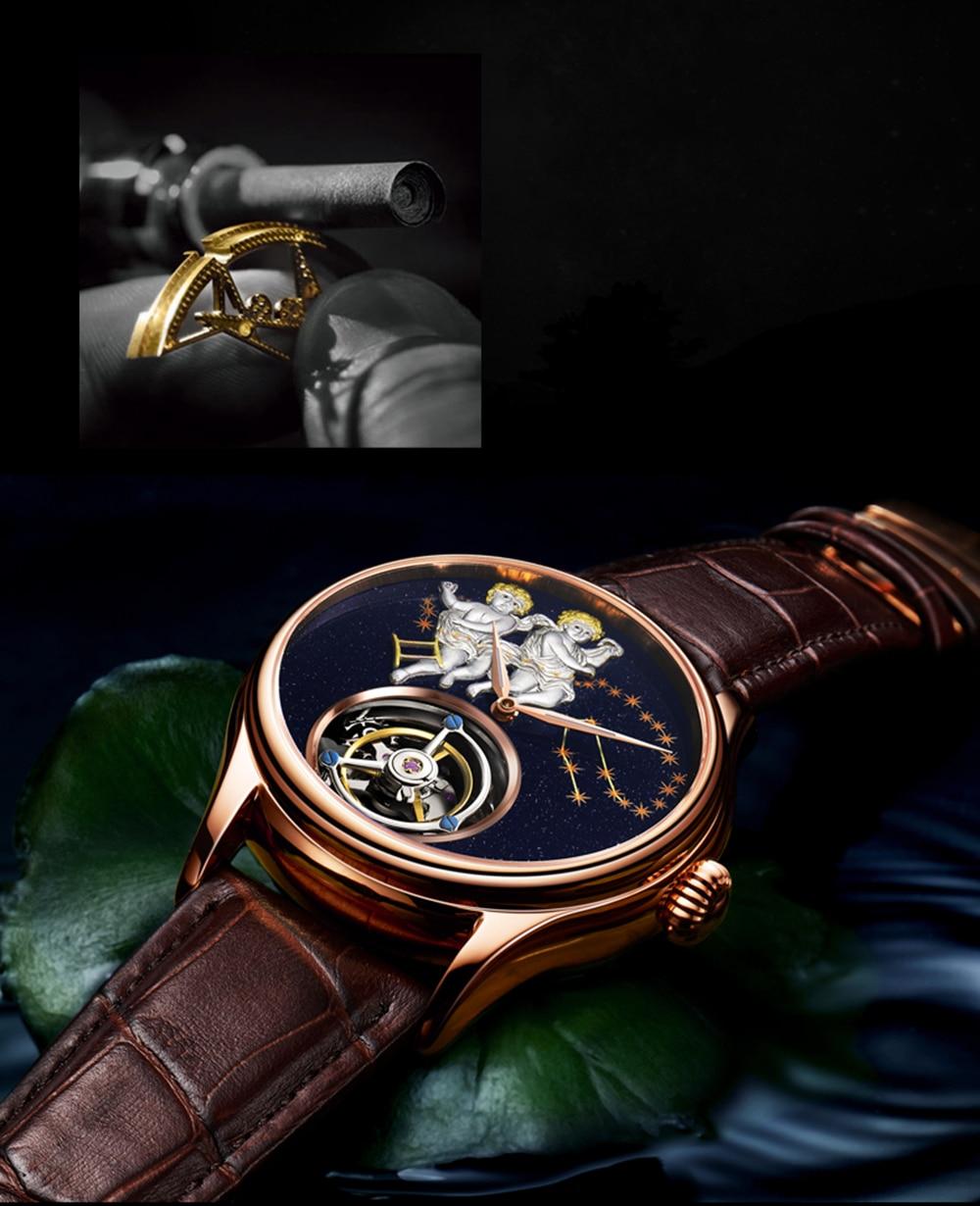 GUANQIN 2019 Real Tourbillon Mechanical Hand Wind Mens Watches Top Brand Luxury Gemini Clock men Gold Sapphire Relogio Masculino 14