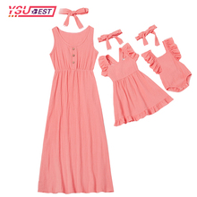 1pcs Mother Kids Casual Button Dress Solid Matching Cute Bab