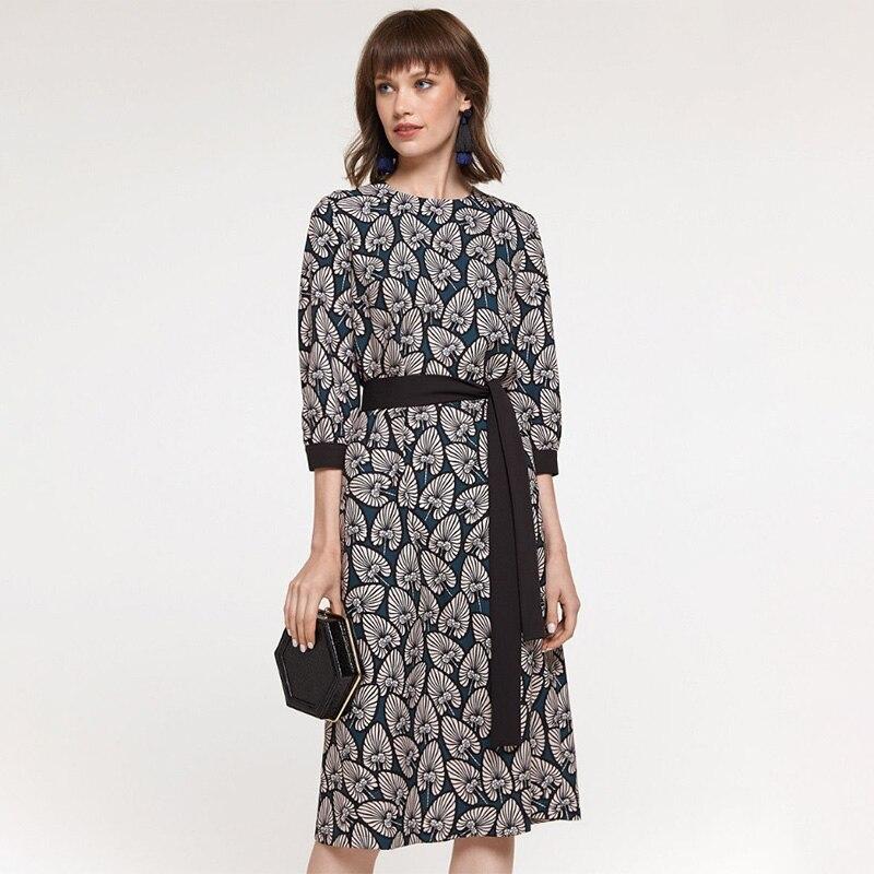 Women Vintage Sashes Printed A-line Party Dress Three Quarter Sleeve O Neck Elegant Casual Dress 2020 Early Spring Fashion Dress