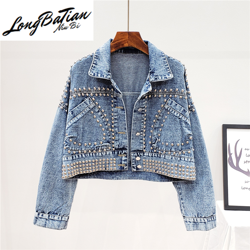 Spring Handwork Rivet Short Denim Women Outerwear Korean style Loose vintage Washed blue Black Jeans Jacket Coat Female