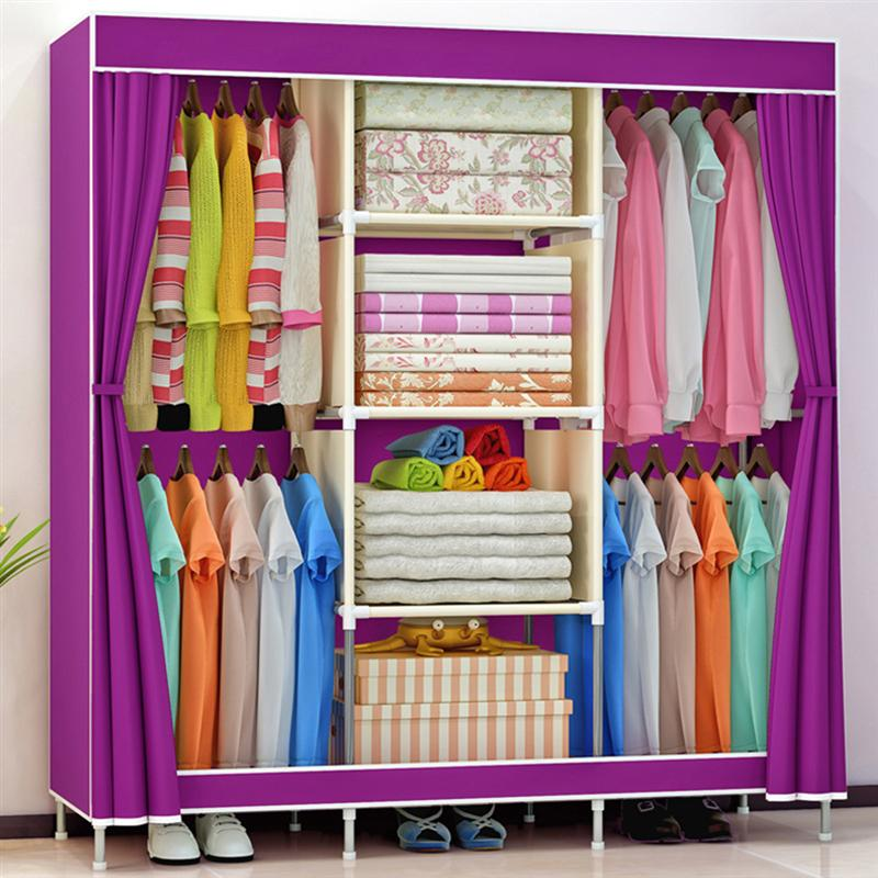 Practical Non-woven Fabric Wardrobe Foldable Closet Dustproof Storage Organizer for School Students Dormitory